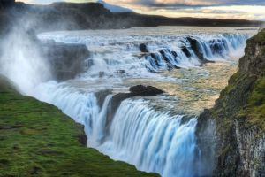 waterfall river iceland gullfoss landscape