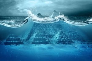 waves pyramid pyramids of giza bubbles cyan clouds horizon split view apocalyptic photo manipulation artwork underwater digital art blue sea