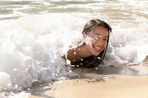 waves women outdoors lorena garcia beach model water smiling women