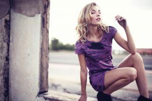 wavy hair blonde women outdoors legs minidress rachel ann yampolsky dress women