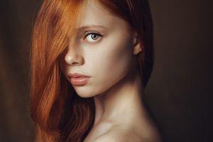 wavy hair face redhead model long hair photo manipulation women ekaterina yasnogorodskaya portrait green eyes