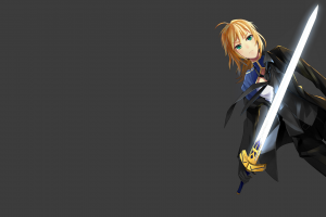 weapon anime girls anime saber sword blonde suits fate series