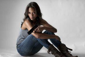 weapon tank top women brunette girls with guns gun ebony pistol actress zoe saldana jeans