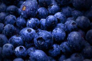 wet fruit water drops macro blueberries food