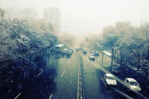 wet road snow trees road