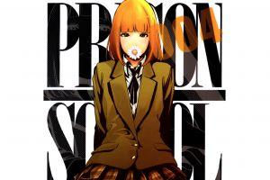 white background anime girls simple background anime midorikawa hana flowers prison school