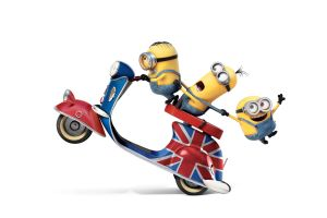white background simple background render minions union jack vehicle