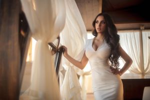 white dress women model dress