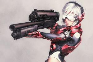 white hair anime girls gun futuristic
