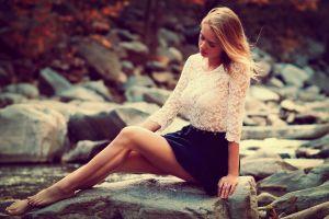 white tops see-through blouse legs tiptoe blonde karolina debczynska women miniskirt women outdoors model barefoot sitting looking away