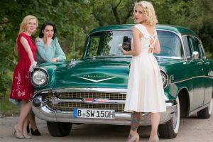 white women event old car blonde red vintage prom brunette road dress hair   car blue