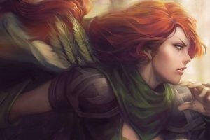 windranger artwork windrunner dota women dota 2 video games redhead