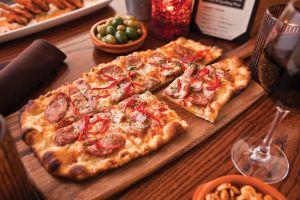 wine food pizza