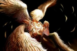 wings blonde anime fantasy art angel