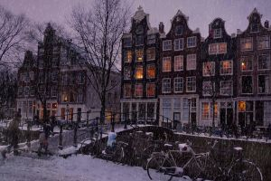 winter bridge bicycle city trees netherlands building amsterdam snow