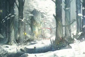 winter forest snow trees fish animals fantasy art digital art birds