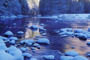winter nature landscape water snow