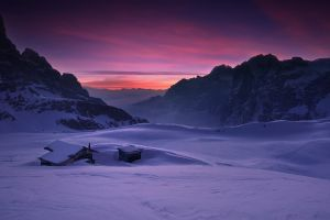 winter sky cabin cold clouds snow nature landscape dolomites (mountains) italy mountains