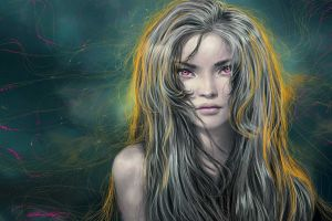 women artwork long hair