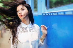 women aurela skandaj model white tops long hair face portrait blue eyes brunette