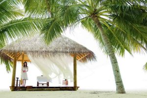 women beach palm trees
