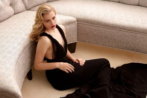 women blonde black dress chloë grace moretz actress dress