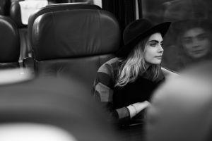 women blonde cara delevingne model actress monochrome