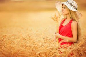 women blonde farm women outdoors wheat hat red dress long hair plants dress