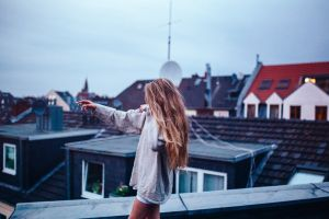 women blonde rooftops