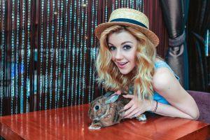 women blonde yulianna karaulova rabbits
