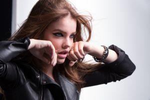 women blue eyes brunette barbara palvin pale model leather jackets makeup eyeliner leather clothing