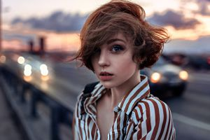women blue eyes hair blowing in the wind olya pushkina portrait georgy chernyadyev windy short hair shirt