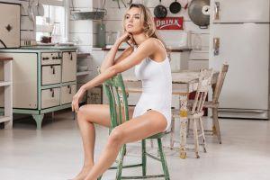 women bodysuit sitting kitchen blonde