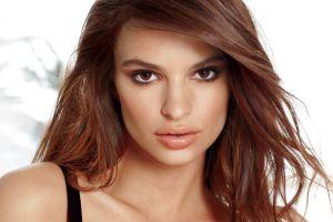 women brown eyes face model emily ratajkowski brunette juicy lips