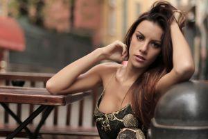women brunette arms up long hair model