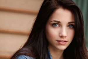 women brunette blue eyes face moles portrait long hair smiling emily rudd clean skin