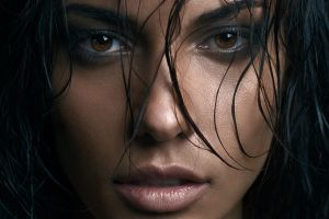 women brunette closeup eugénie journée hazel eyes face