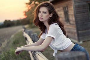 women brunette portrait long hair