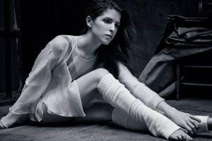 women dark hair knee-highs anna kendrick see-through clothing actress long hair legs monochrome women indoors tiptoe sitting