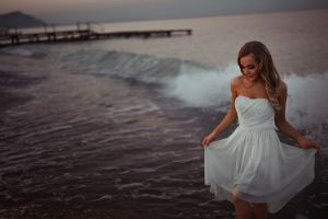 women dress white dress bare shoulders sea smiling sunset smoky eyes beach blonde ivan gorokhov waves model pier