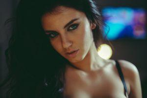 women face black hair aurela skandaj eyeliner dark hair blue eyes soft looking at viewer portrait