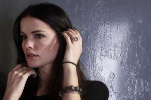 women face black nails jaimie alexander bracelets brunette hazel eyes painted nails actress