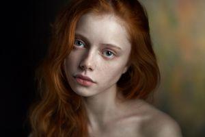 women face depth of field looking at viewer blue eyes portrait green eyes redhead juicy lips ekaterina yasnogorodskaya bare shoulders pale