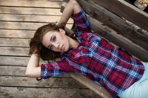 women face kirill averyanov top view portrait wooden surface plaid shirt