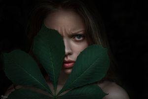 women face portrait leaves juicy lips
