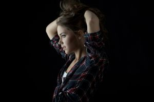 women face profile arms up model small boobs plaid shirt
