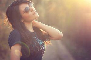 women face women with glasses women outdoors model brunette