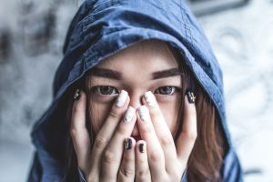 women fake iris hoods asian painted nails covered face face brunette