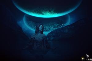 women fantasy art blue model