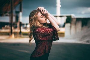women freckles women outdoors side view blonde see-through clothing profile closed eyes arms up